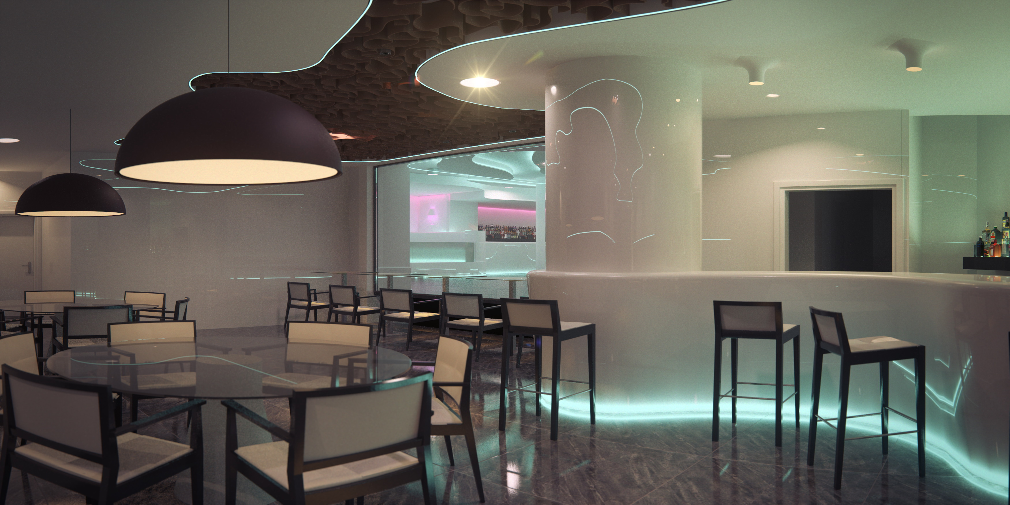 Interiorismo restaurante discoteca cuantico infografia for Interiorismo restaurantes