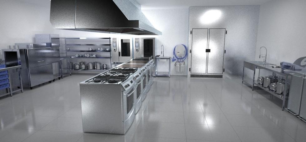 Cocina industrial cuantico infografia 3d y video 3d en for Planos de una cocina industrial