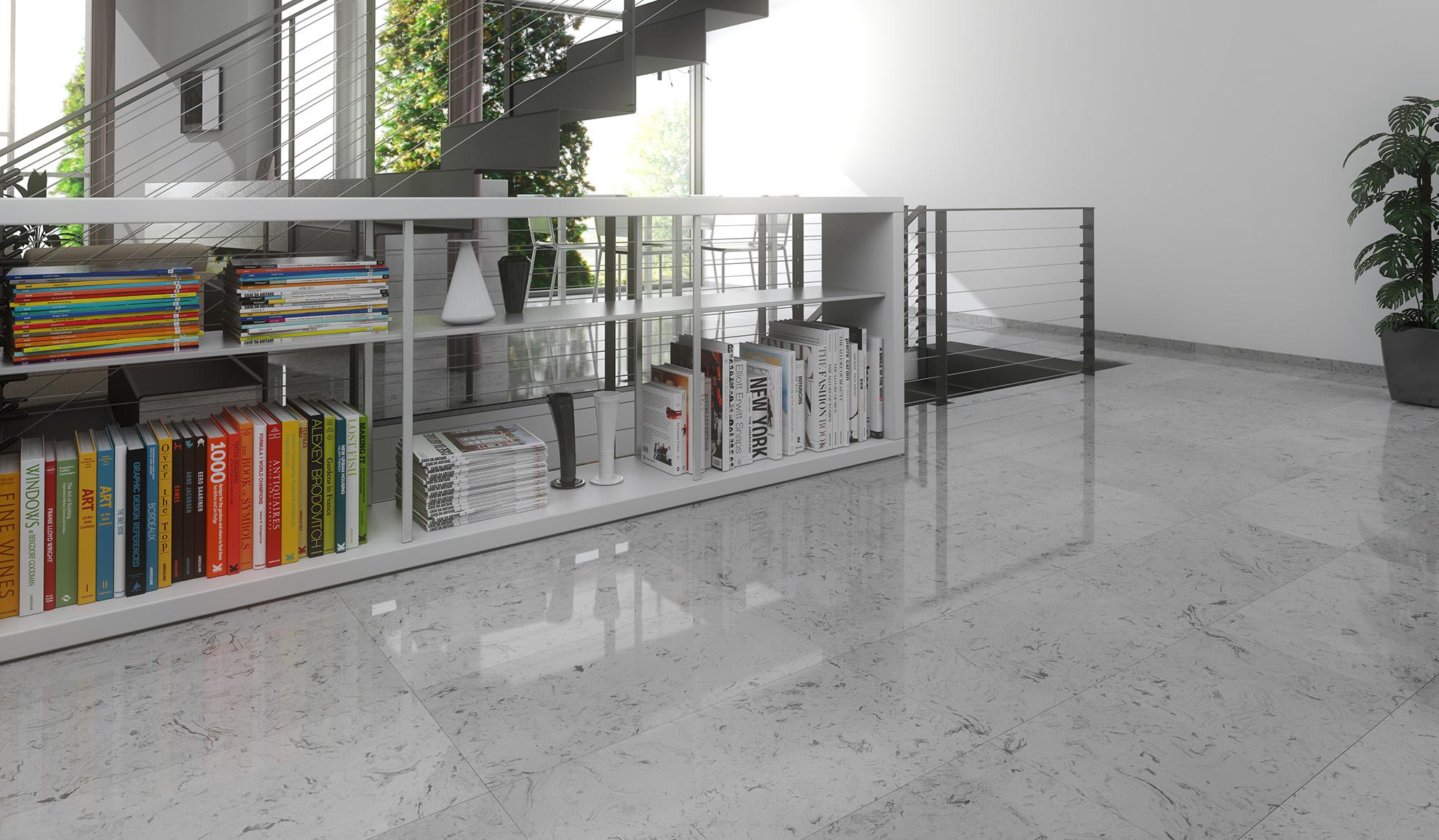 infografia 3d de un suelo de marmol sinttico ambiente de un saln con una escalera metalica - Suelo Marmol