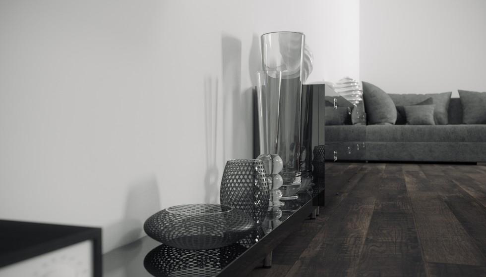 Ambiente 3d salon con muebles lacados y suelo de parquet for Muebles de salon lacados