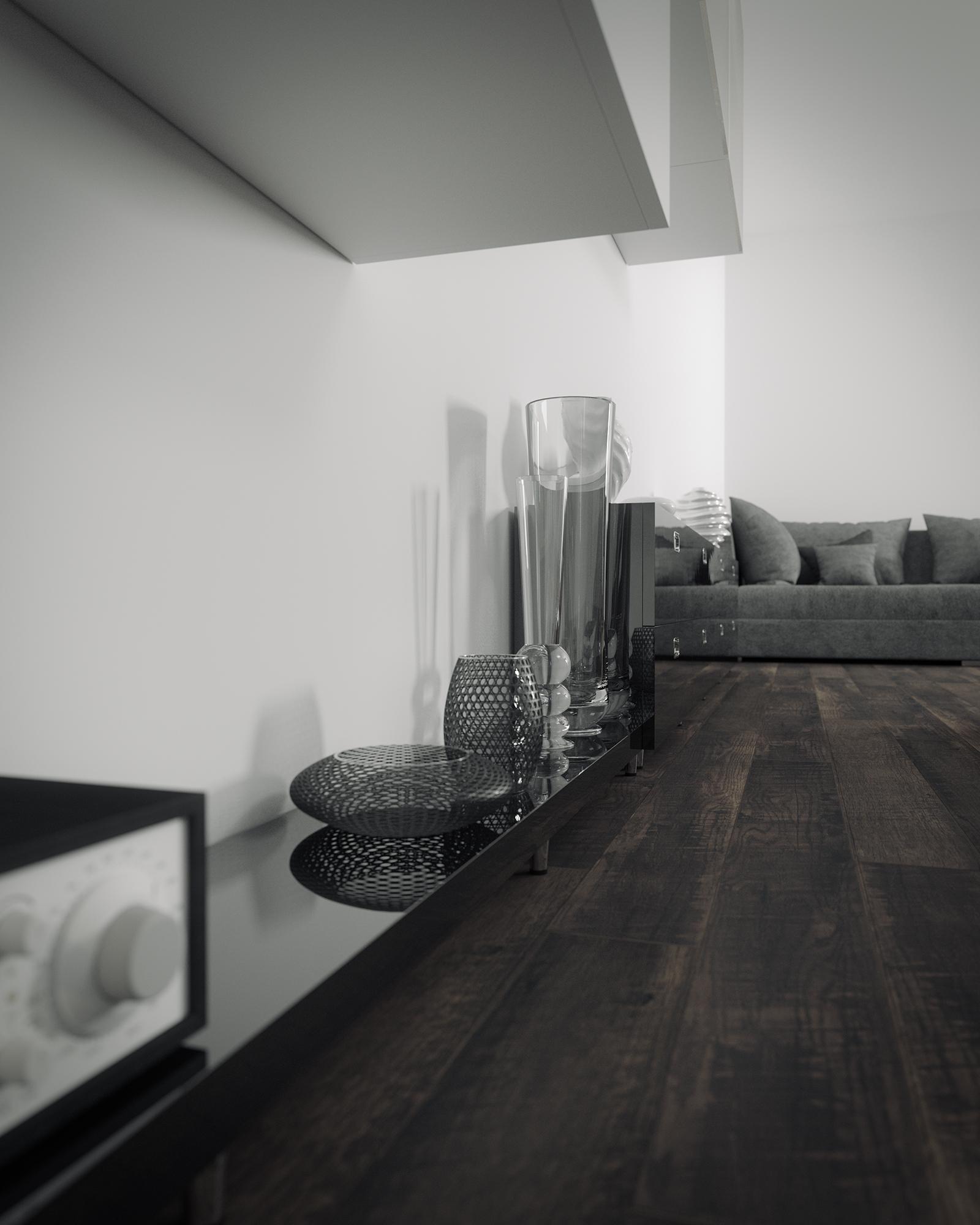 Ambiente 3d salon con muebles lacados y suelo de parquet - Muebles de salon lacados en blanco ...
