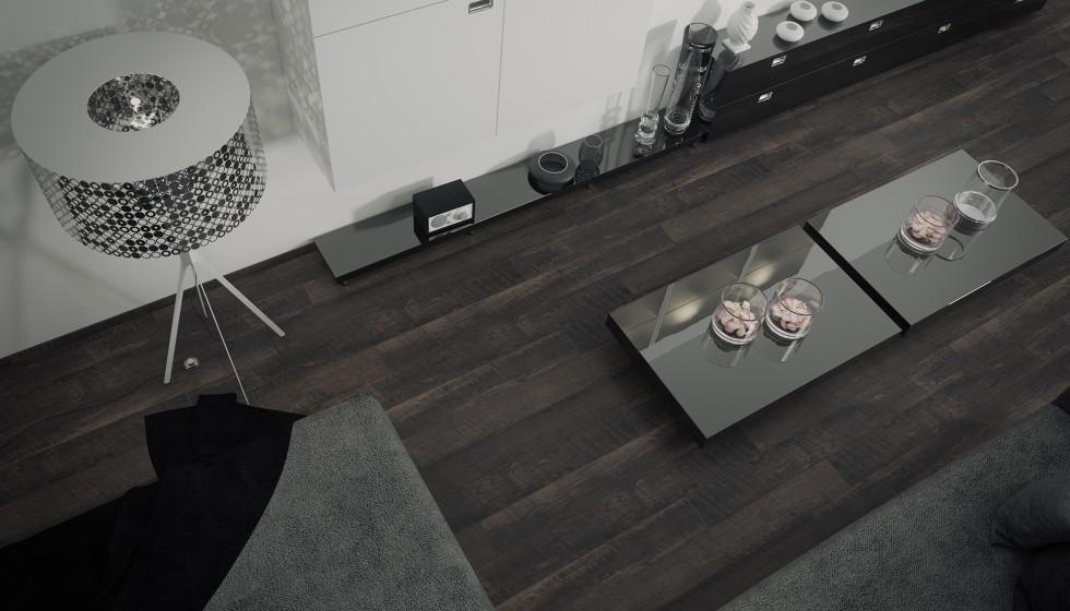 Ambiente 3d salon con muebles lacados y suelo de parquet for Suelo 3d blanco