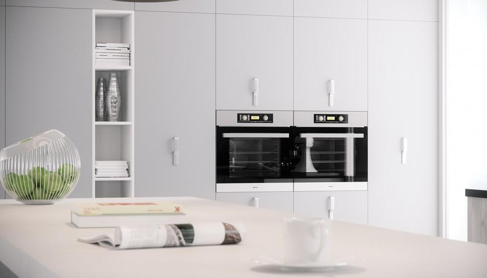 Ambientes 3d cocina blanco y negro cuantico infografia - Cocinas modernas valencia ...