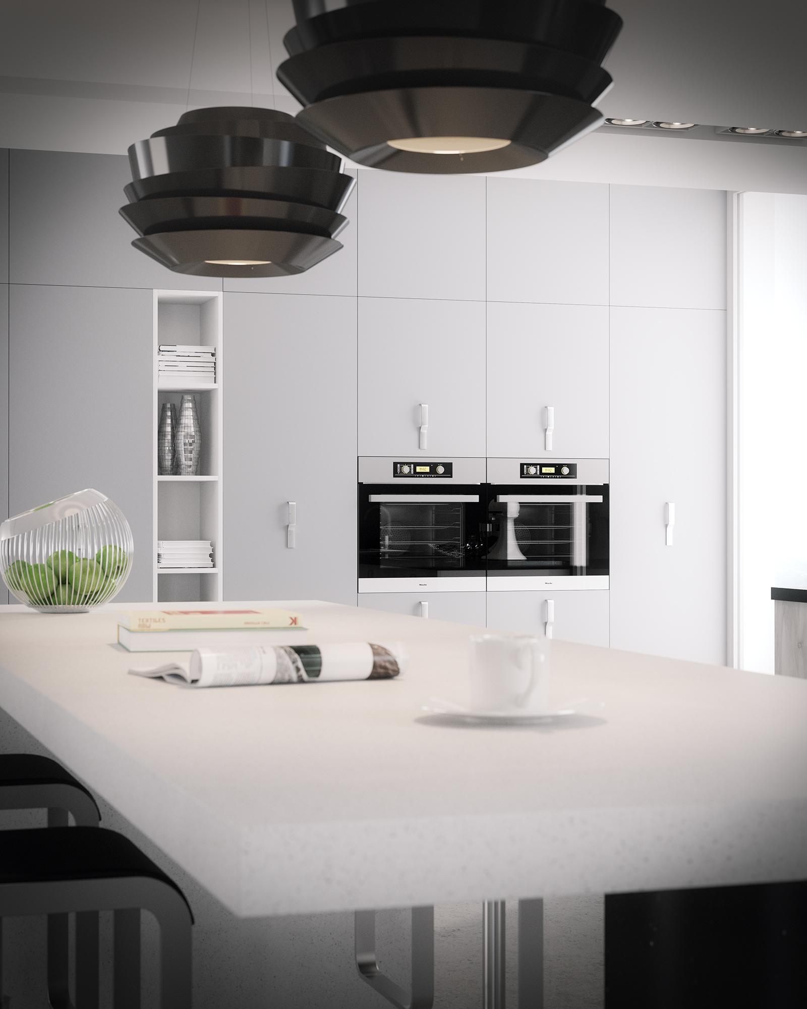 Ambientes 3d cocina blanco y negro cuantico infografia for Cocinas modernas valencia