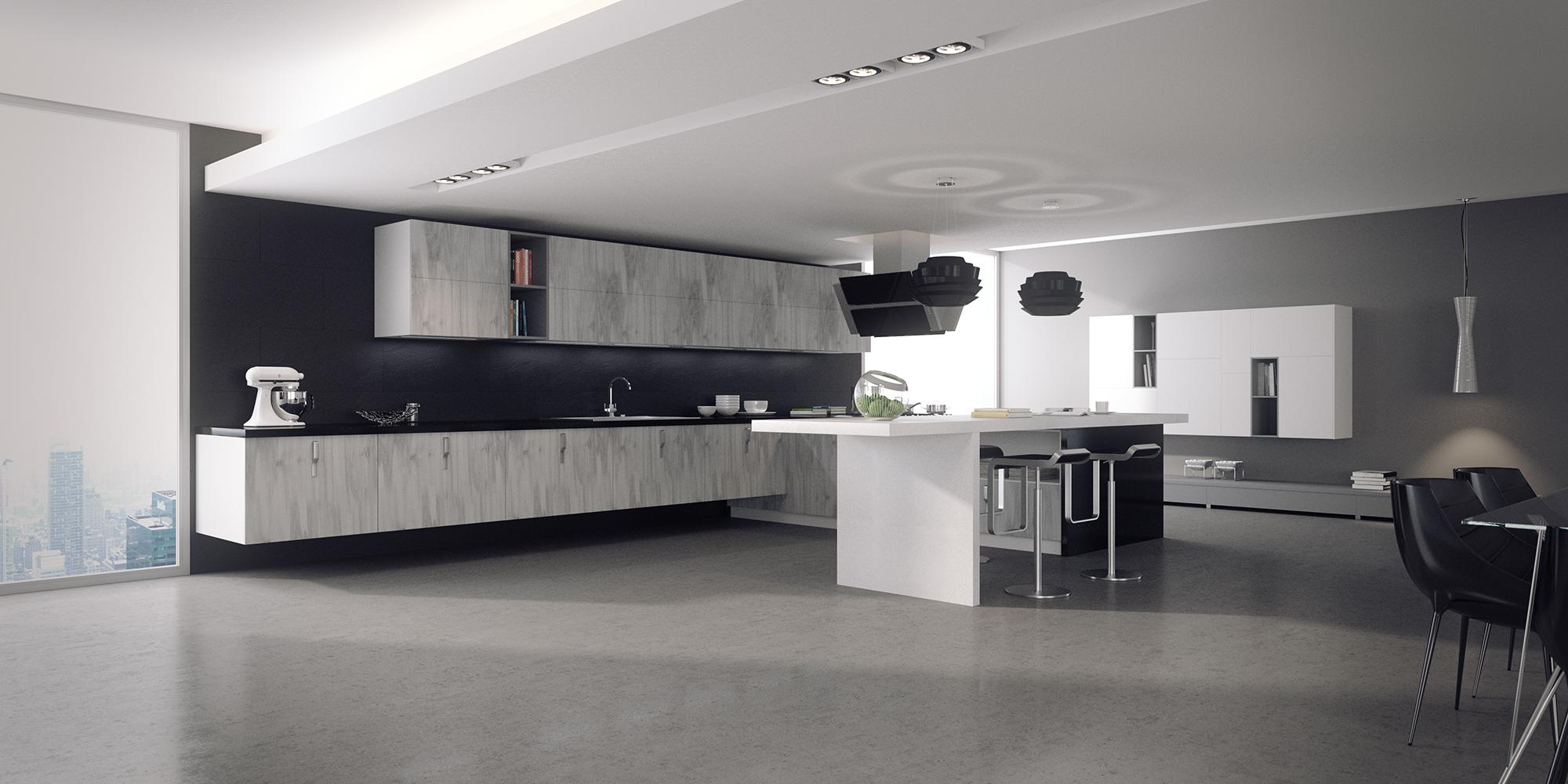 Ambientes 3d cocina blanco y negro cuantico infografia for Imagenes de cocinas empotradas modernas