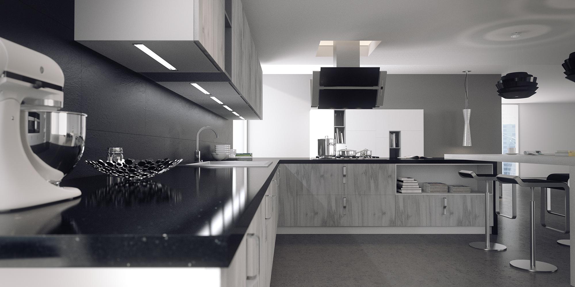 Ambientes 3d cocina blanco y negro cuantico infografia for Programa para cocinas 3d gratis